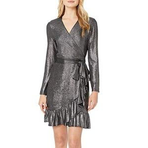 NWT CECE Foil Ruffle Long Sleeve Wrap Dress